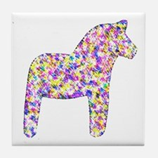 Swedish Multi-colored Dala Horse Tile Coaster