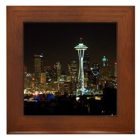 Seattle at Night Framed Tile