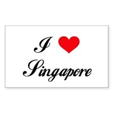 I Love Singapore Rectangle Decal