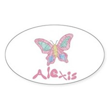Pink Butterfly Alexis Oval Decal