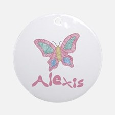 Pink Butterfly Alexis Ornament (Round)