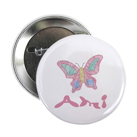 """Pink Butterfly Ami 2.25"""" Button (100 pack)"""