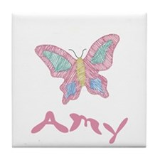 Pink Butterfly Amy Tile Coaster