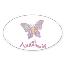 Pink Butterfly Anastasia Oval Decal