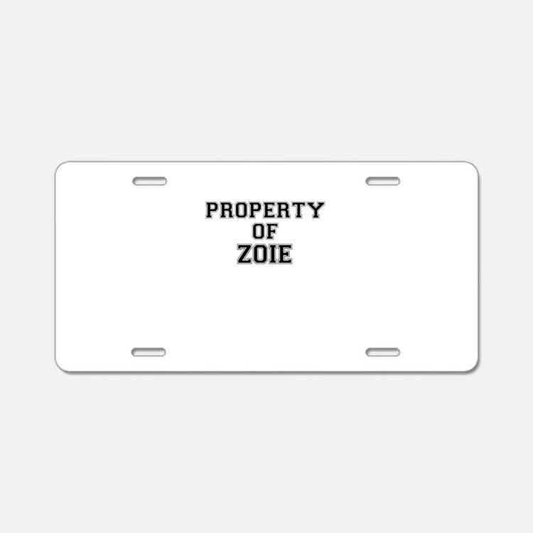 Property of ZOIE Aluminum License Plate