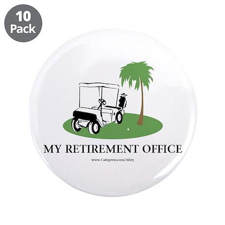"Golf Retirement 3.5"" Button (10 pack)"