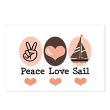 Peace Love Sail Boat Sailing Postcards (Package of