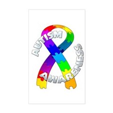 Autism Puzzle Ribbon Rectangle Stickers