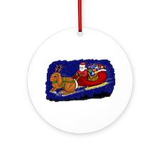 Rabbit Christmas Sleigh Ornament (Round)