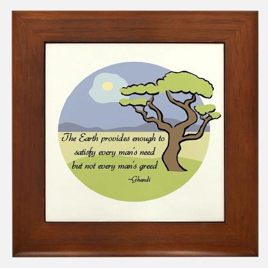 Ghandi Earth quote Framed Tile