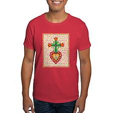 Heart with Cross & Flowers T-Shirt