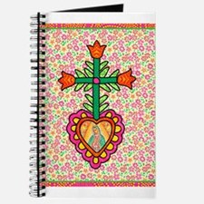 Heart with Cross & Flowers Journal