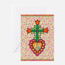 Heart with Cross & Flowers Greeting Card