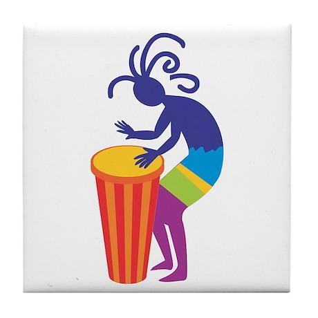 Kokopelli Drum Tile Coaster