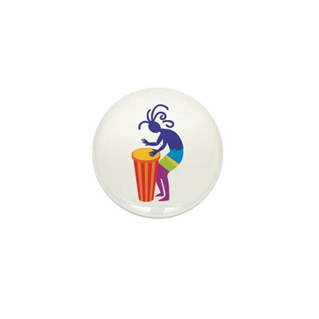 Kokopelli Drum Mini Button