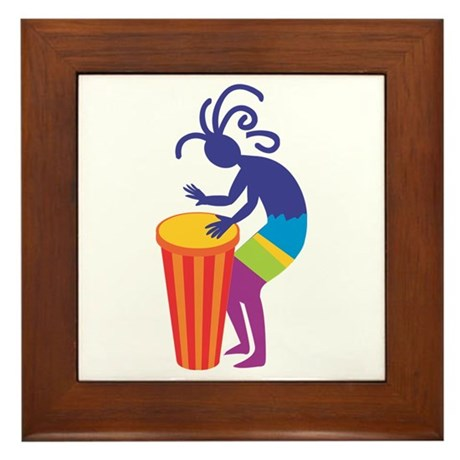 Kokopelli Drum Framed Tile