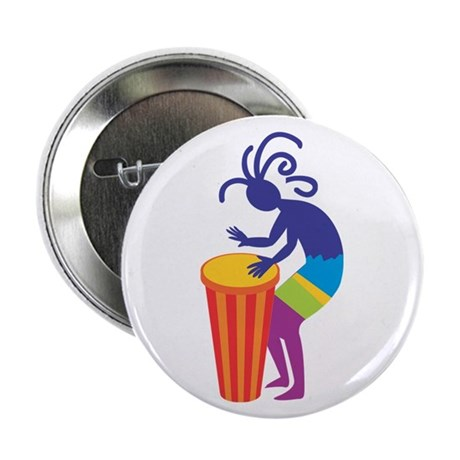 "Kokopelli Drum 2.25"" Button (100 pack)"