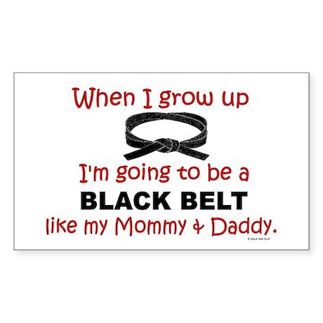 Black Belt Like My Mommy & Daddy Sticker (Rectangu