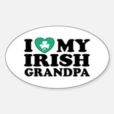 I Love My Irish Grandpa Oval Decal