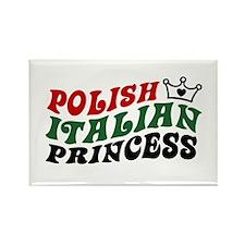 Polish Italian Princess Rectangle Magnet