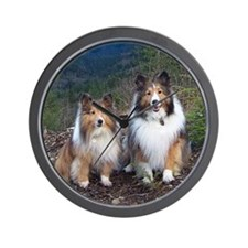 Cute TWIN SHELTIE Photo Portrait Wall Clock