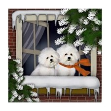 BICHON FRISE DOGS WINTER WINDOW Tile Coaster