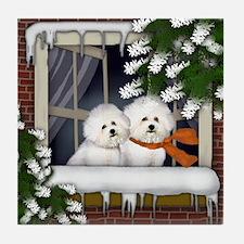 BICHON FRISE DOGS WINTER WINDOW Tile Coaster