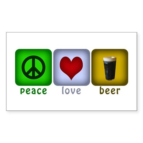 Peace, Love, and Beer Rectangle Sticker