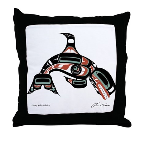 Diving Killer Whale Throw Pillow