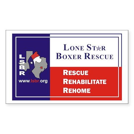 Lone Star Boxer Rescue Rectangle Sticker