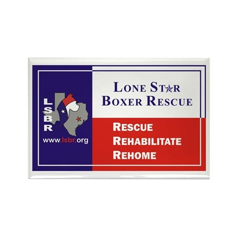 Lone Star Boxer Rescue Rectangle Magnet