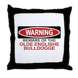 Olde english bulldogge Throw Pillows