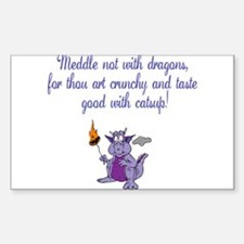 Meddle not (purple dragon) Rectangle Decal