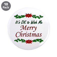 """Merry Christmas OK!"" 3.5"" Button (10 pack)"