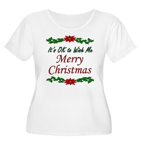 """Merry Christmas OK!"" Women's Plus Size Scoop Neck"