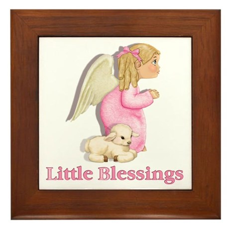 Little Blessings Girl Angel Framed Tile