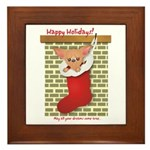 Chihuahua Christmas Stocking Framed Tile