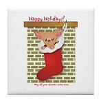 Chihuahua Christmas Stocking Tile Coaster