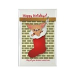 Chihuahua Christmas Stocking Rectangle Magnet (100