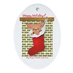 Chihuahua Christmas Stocking Oval Ornament