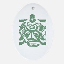 Hockey goalie green Oval Ornament