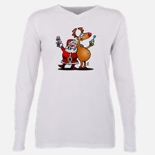 Santa Claus and his Rein Plus Size Long Sleeve Tee