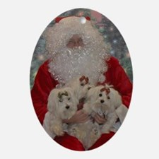 Maltese Holiday Cards Oval Ornament