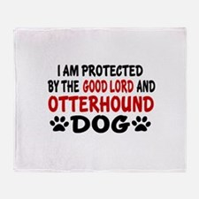 Protected By Otterhound Throw Blanket