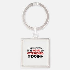 Protected By Otterhound Square Keychain