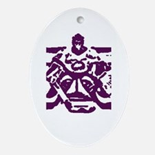 Hockey goalie purple Oval Ornament