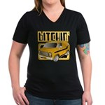 70s Retro Chevy Van Women's V-Neck Dark T-Shirt