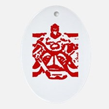 Hockey goalie red Oval Ornament