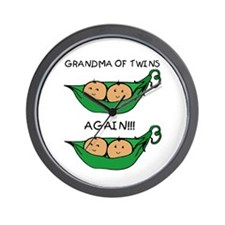 Grandma of Twins Again Wall Clock
