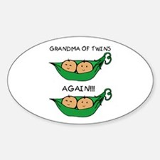 Grandma of Twins Again Oval Decal